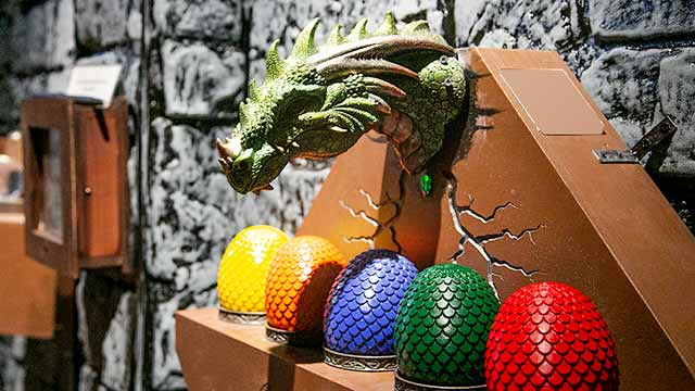 Dragon with eggs at Spellcaster escape room at Locktopia Houston