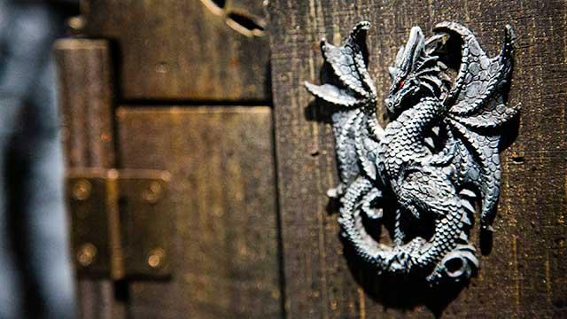 Dragon figure at Spellcaster escape room at Locktopia Houston