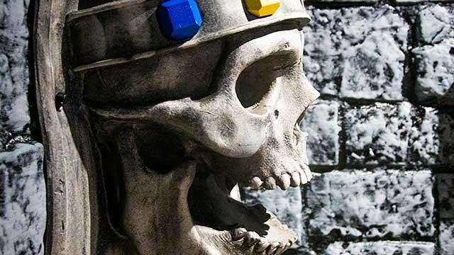 Big skull at Spellcaster escape room at Locktopia Houston