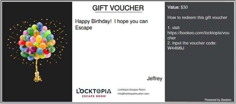Locktopia Escape Room Gift Voucher example 2